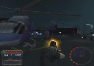 Boss battle with a helicopter.